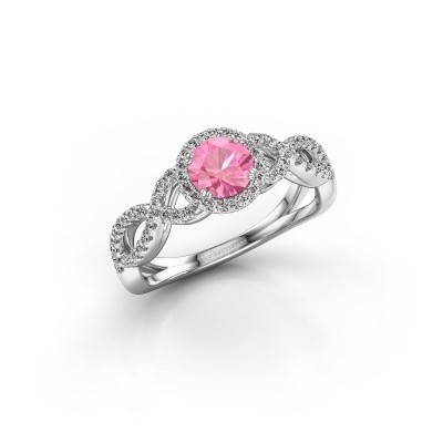 Engagement ring Dionne rnd 585 white gold pink sapphire 5 mm