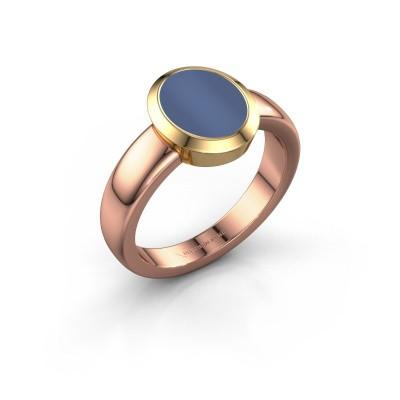 Signet ring Freeda 1 585 rose gold blue sardonyx 10x8 mm