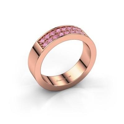 Aanschuifring Catharina 5 375 rosé goud roze saffier 1.7 mm