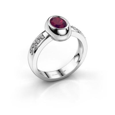 Foto van Ring Charlotte Oval 585 witgoud rhodoliet 7x5 mm