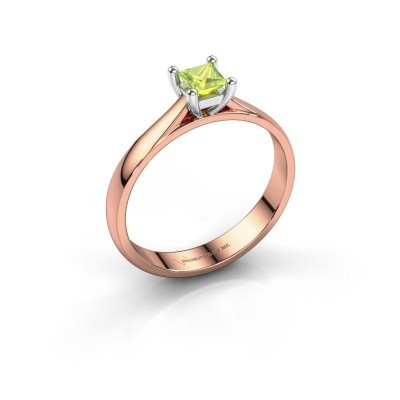 Engagement ring Sam Square 585 rose gold peridot 4 mm