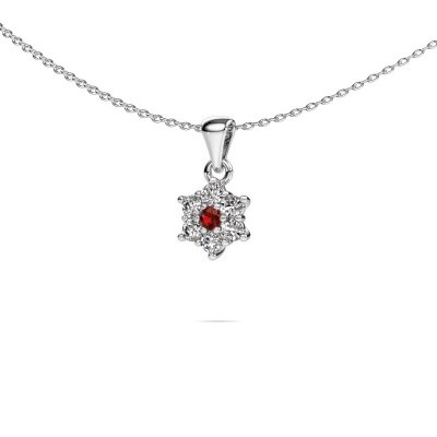 Ketting Chantal 585 witgoud granaat 2.4 mm