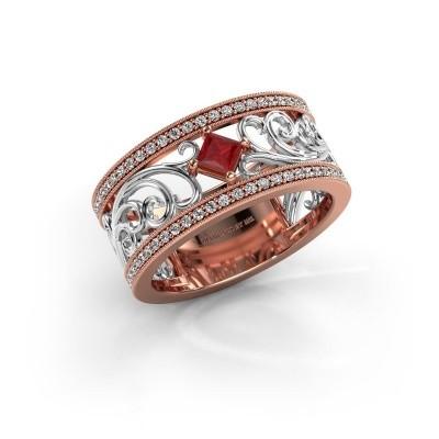 Ring Danae 585 rosé goud robijn 3 mm