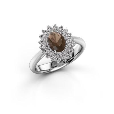 Engagement ring Alina 1 585 white gold smokey quartz 7x5 mm