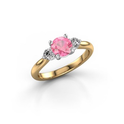 Picture of Engagement ring Lieselot RND 585 gold pink sapphire 6.5 mm