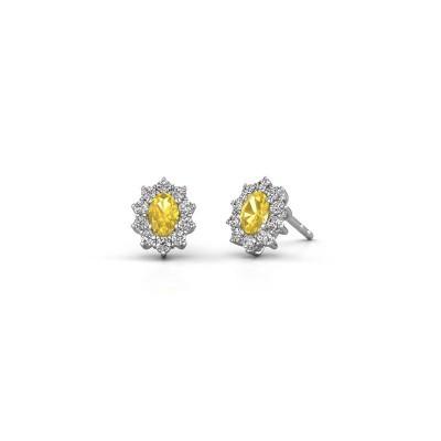 Ohrringe Leesa 585 Weißgold Gelb Saphir 6x4 mm