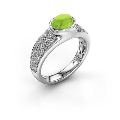Ring Tatyana 375 witgoud peridoot 7x5 mm