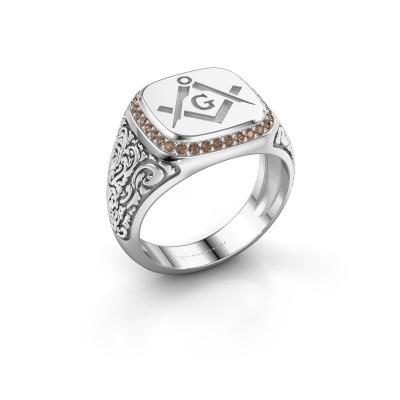 Men's ring Hugo 950 platinum brown diamond 0.255 crt