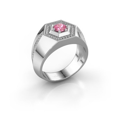 Picture of Men's ring Sjoerd 375 white gold pink sapphire 4.7 mm