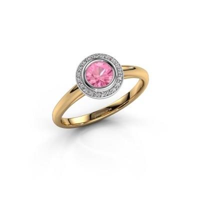 Foto van Promise ring Noud 1 RND 585 goud roze saffier 4.7 mm