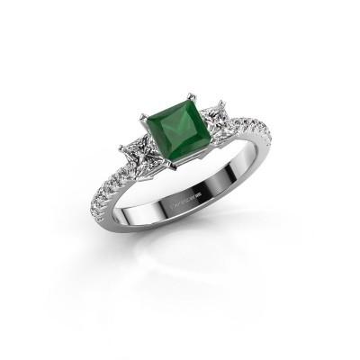 Foto van Verlovingsring Dorla 585 witgoud smaragd 5 mm