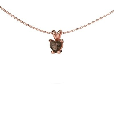 Picture of Necklace Sam Heart 375 rose gold smokey quartz 5 mm