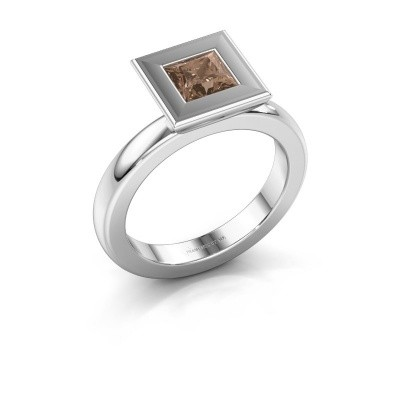 Stapelring Eloise Square 925 zilver bruine diamant 0.78 crt