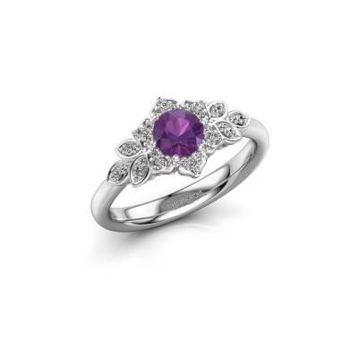Picture of Engagement ring Tatjana 925 silver amethyst 5 mm