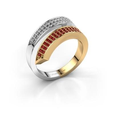 Ring Pien 585 goud robijn 1.2 mm