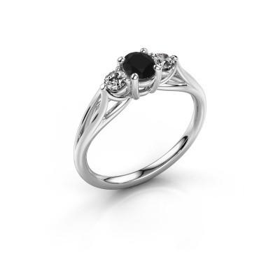 Verlovingsring Amie OVL 925 zilver zwarte diamant 1.16 crt