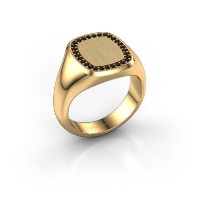 Heren ring Floris Cushion 3 375 goud zwarte diamant 0.270 crt