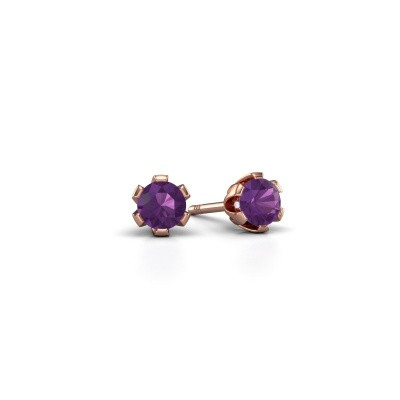 Picture of Stud earrings Julia 375 rose gold amethyst 4 mm