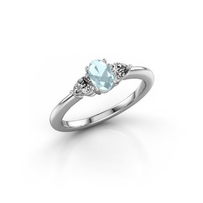 Picture of Engagement ring Chanou OVL 950 platinum aquamarine 6x4 mm