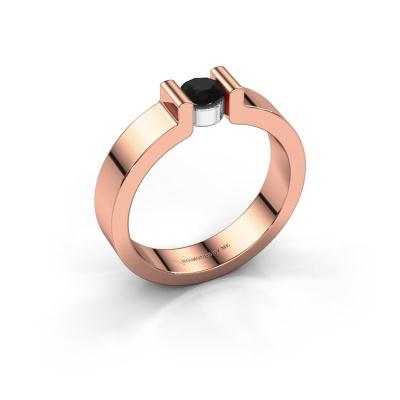 Verlovingsring Isabel 1 585 rosé goud zwarte diamant 0.30 crt