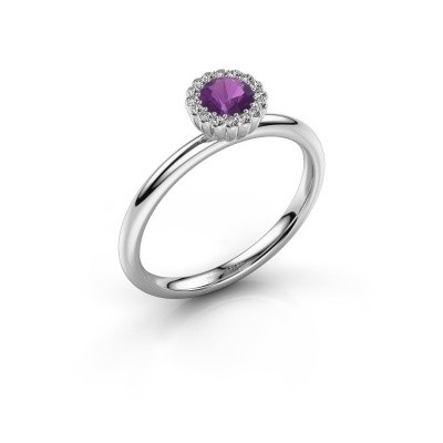 Engagement ring Queen 925 silver amethyst 4.2 mm