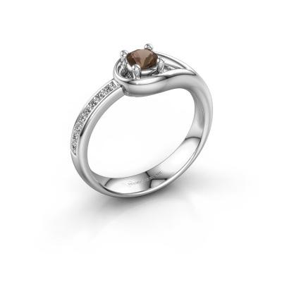 Ring Zara 585 witgoud rookkwarts 4 mm