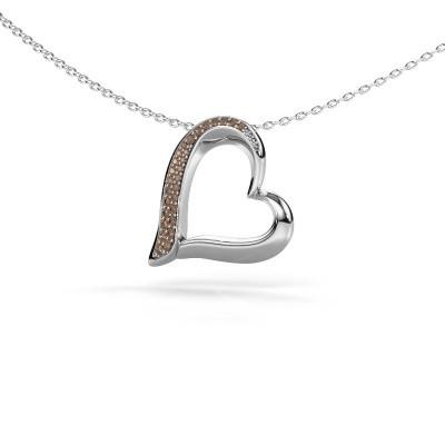 Halsketting Heart 1 585 witgoud bruine diamant 0.134 crt