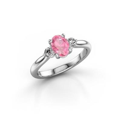 Foto van Verlovingsring Lieselot OVL 585 witgoud roze saffier 6.5x4.5 mm
