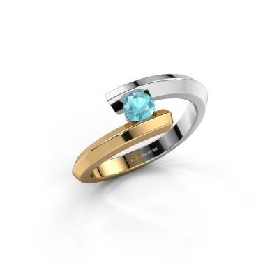Ring Paulette 585 witgoud blauw topaas 3.4 mm