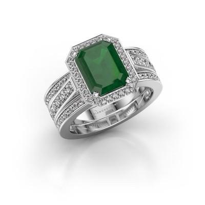 Foto van Ring Dodie 3 925 zilver smaragd 9x7 mm