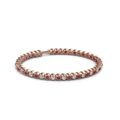 Tennisarmband Asley 375 rosé goud robijn 3 mm