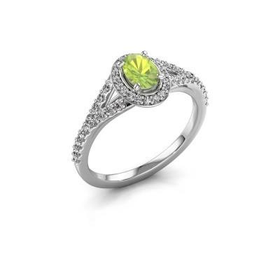 Belofte ring Pamela OVL 585 witgoud peridoot 7x5 mm