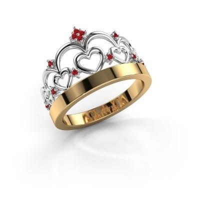 Ring Kroon 1 585 goud robijn 1 mm
