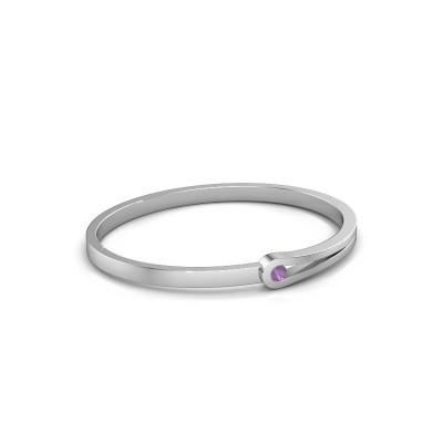 Bracelet jonc Kiki 950 platine améthyste 4 mm
