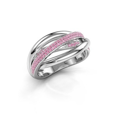 Ring Candice 585 witgoud roze saffier 0.8 mm