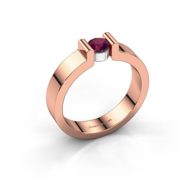 Verlovingsring Isabel 1 585 rosé goud rhodoliet 4 mm