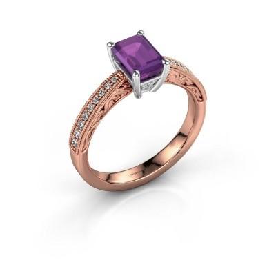 Verlovingsring Shonta EME 585 rosé goud amethist 7x5 mm