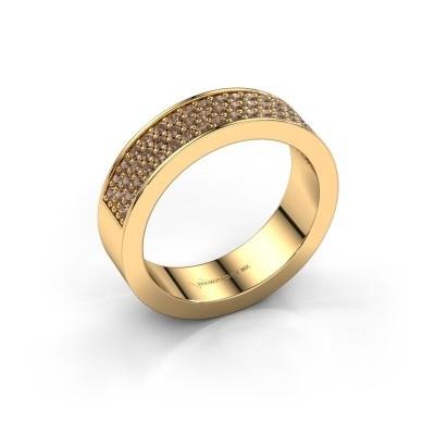 Ring Lindsey 4 375 goud bruine diamant 0.53 crt