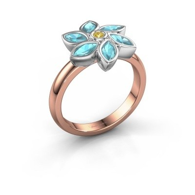 Ring Amina 585 rosé goud gele saffier 2 mm