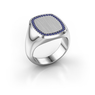 Men's ring Floris Cushion 4 375 white gold sapphire 1.2 mm