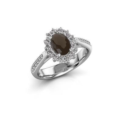 Engagement ring Margien 2 925 silver smokey quartz 7x5 mm