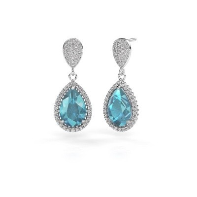Picture of Drop earrings Cheree 2 585 white gold blue topaz 12x8 mm