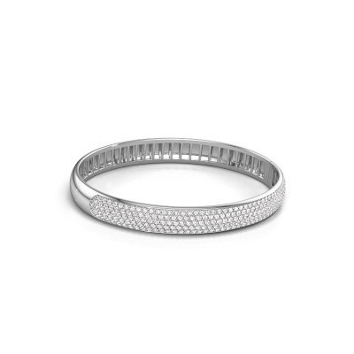 Photo de Bracelet jonc Emely 8mm 585 or blanc diamant 3.036 crt