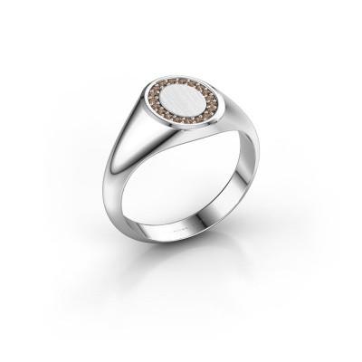 Pinky ring Floris Oval 1 925 silver brown diamond 0.143 crt