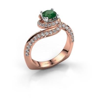 Verlovingsring Sienna 585 rosé goud smaragd 5 mm