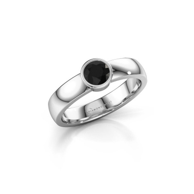 Ring Ise 1 925 zilver zwarte diamant 0.48 crt