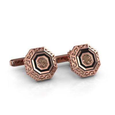 Foto van Manchetknopen Dion 375 rosé goud bruine diamant 1.00 crt