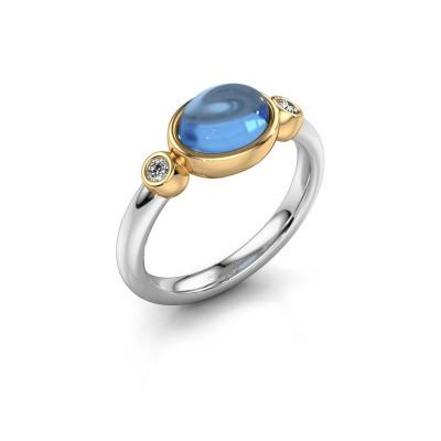 Ring Liane 585 witgoud blauw topaas 8x6 mm