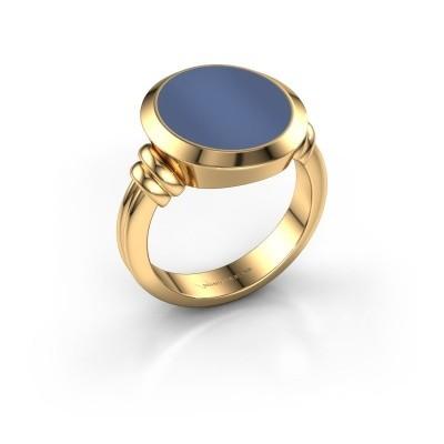Zegelring Jake 4 585 goud blauw lagensteen 15x13 mm