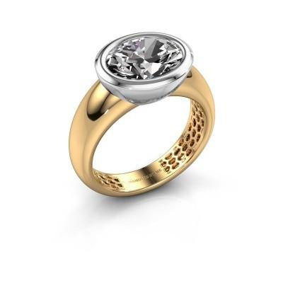 Ring Evelyne 585 goud zirkonia 10x8 mm
